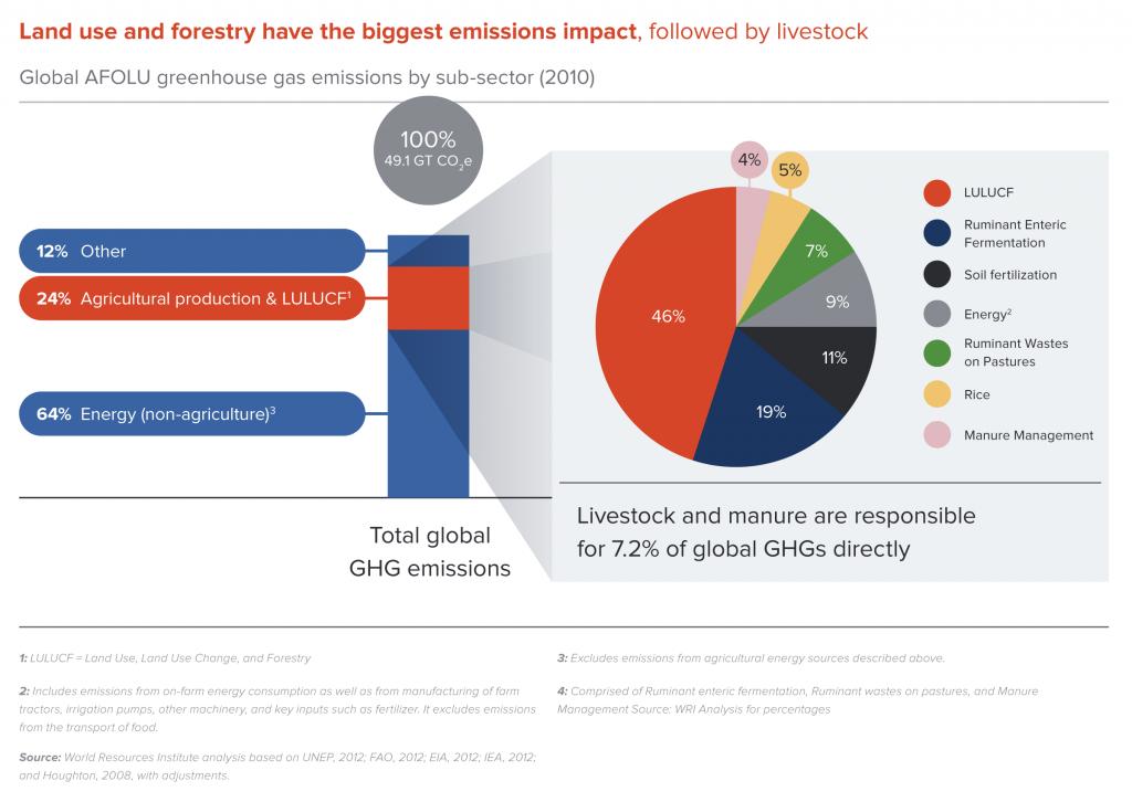 Global AFOLU greenhouse gas emissions by sub-sector (2010)